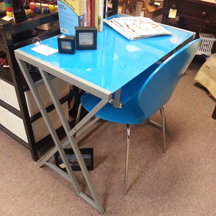 Modern Blue Glass Desk