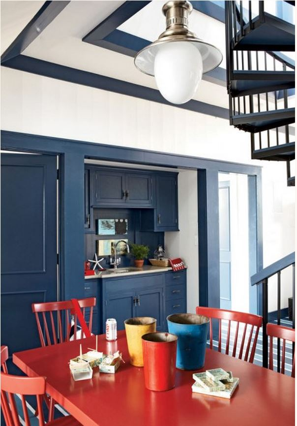 Nautical Beach House Design in Red, White and Blue