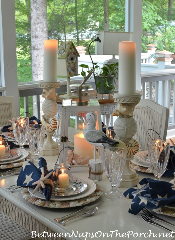 Nautical Beach Table by Candlelight