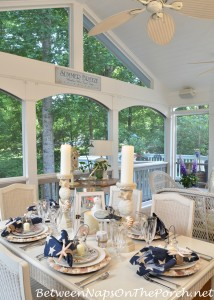 Nautical Table Dining on Screened Porch