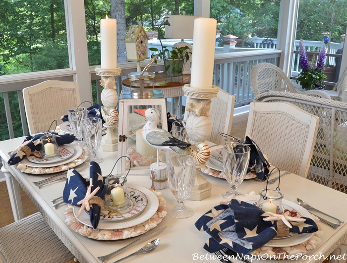 Nautical Tablescape with Shell Chargers and Fish Flatware : Nautical Table Setting on the Porch from betweennapsontheporch.net size 700 x 531 jpeg 395kB