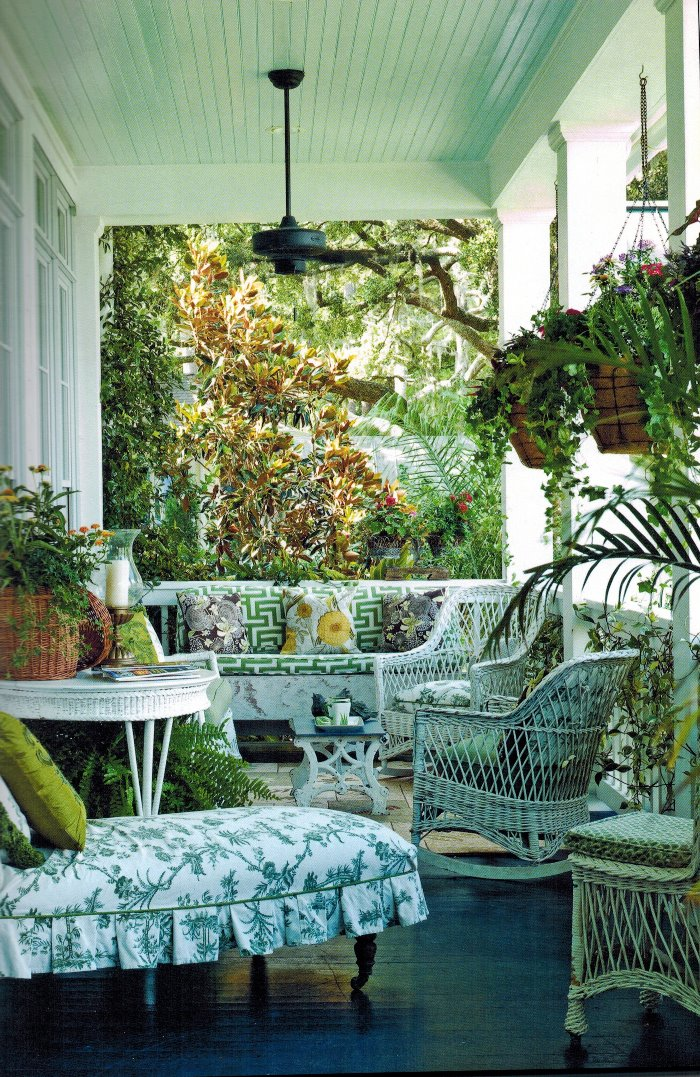 Paula Deen's Front Porch with Wicker Furniture