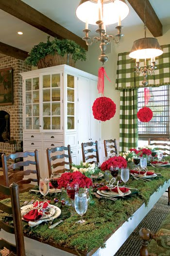 Paula Deen's Moss Tablecloth Christmas Table Setting