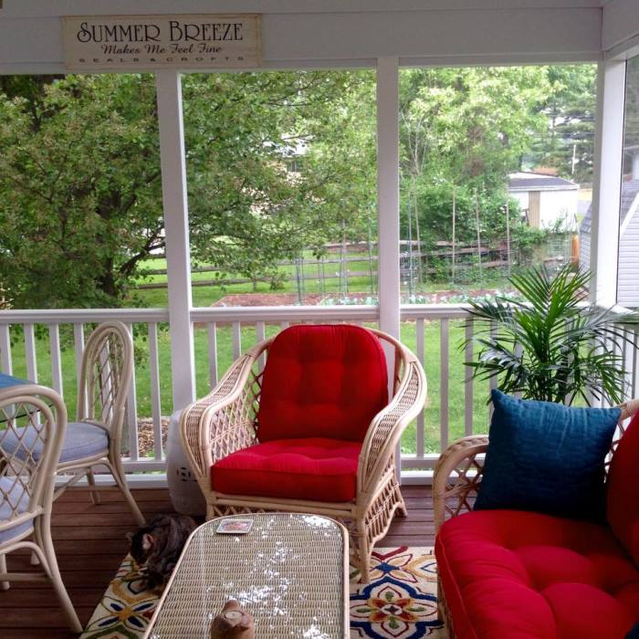 Red Cushions for Screened In Porch
