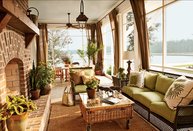 Screened Porch With Fireplace, Captain's Watch Home, River Dunes