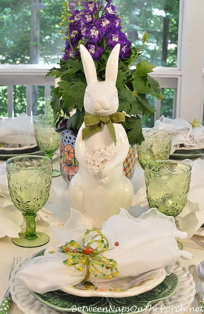 Spring Easter Table Setting With Bunny Delphinium Centerpiece