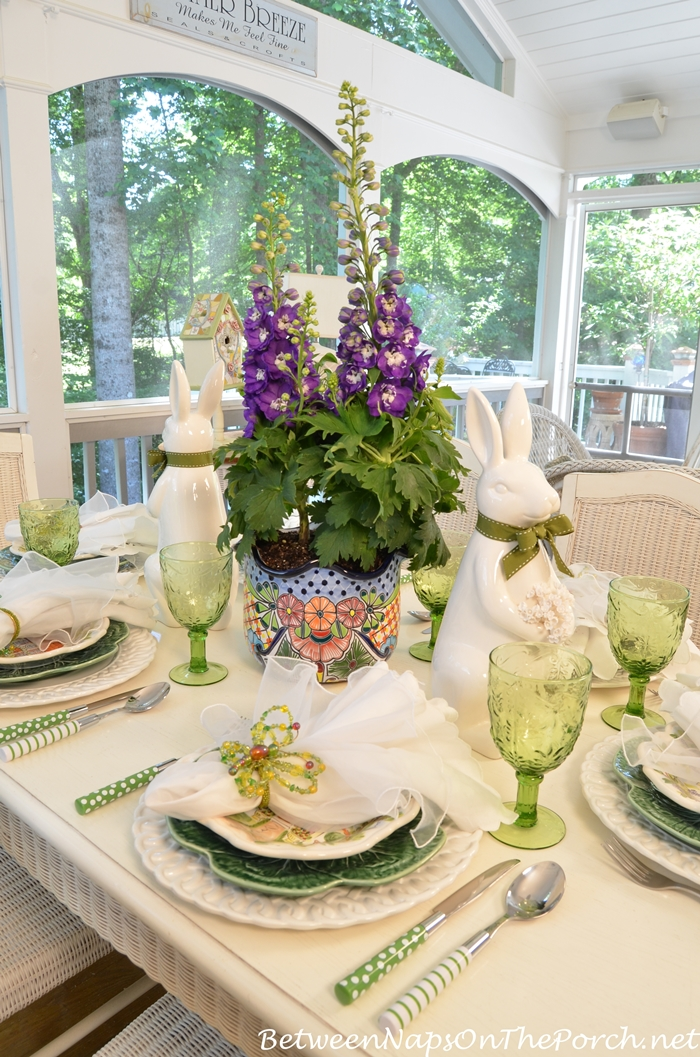 Spring Table with Delphinium Centerpiece