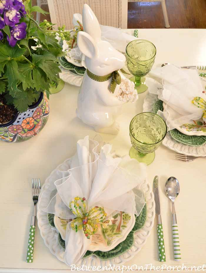 Spring Tablescape with Bunny Centerpiece