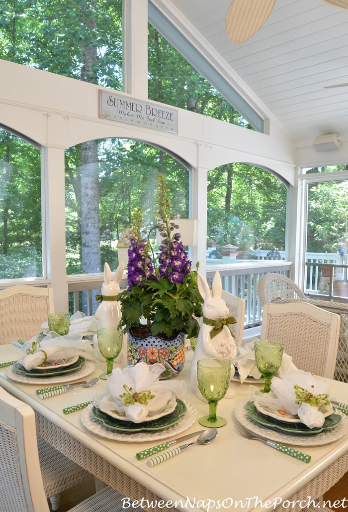 Spring or Easter Tablescape on Screened Porch