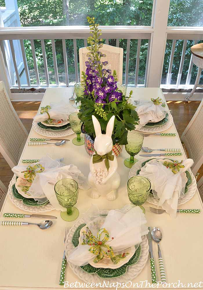 Spring or Easter Tablescape with Delphinium