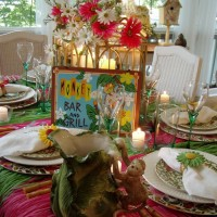 Summer Table With Hula Skirt Tablecloth