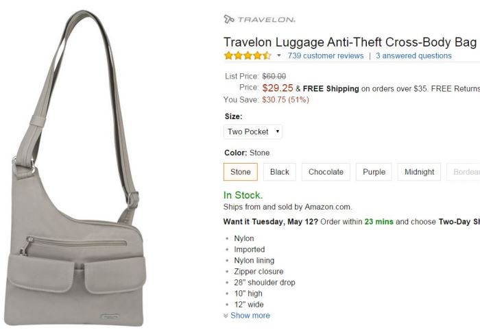 Travelon Crossbody Travel Bag with RFID Block