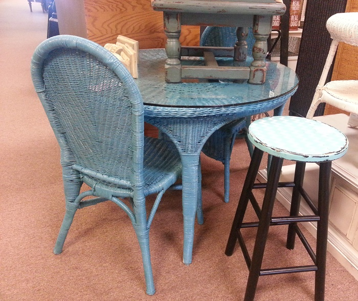 Turquoise Wicker Dining Set