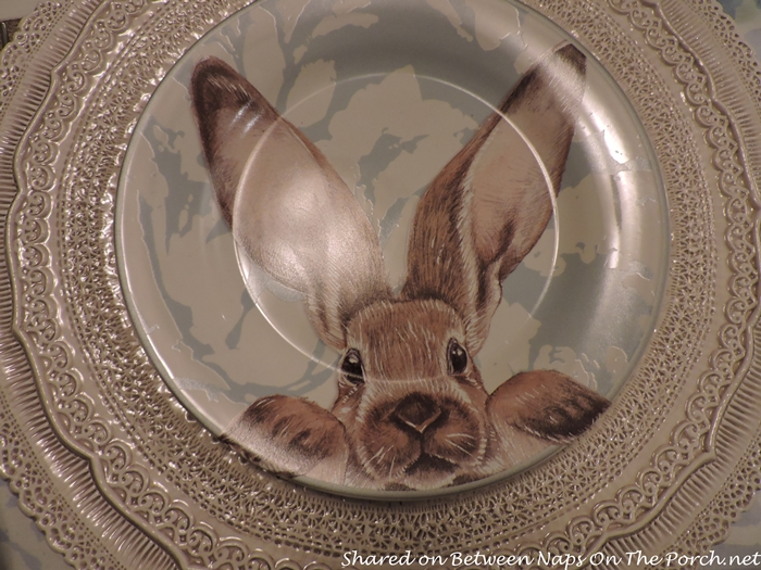 Williams Sonoma Damask Bunny Plates