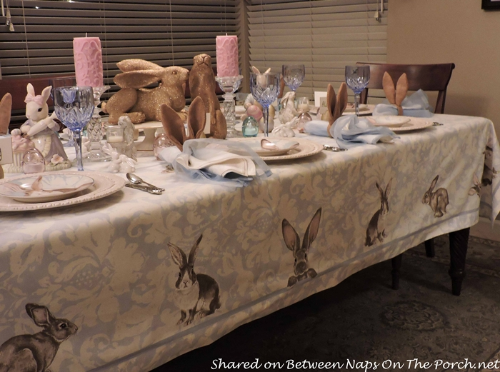 Williams Sonoma Damask Bunny Tablecloth