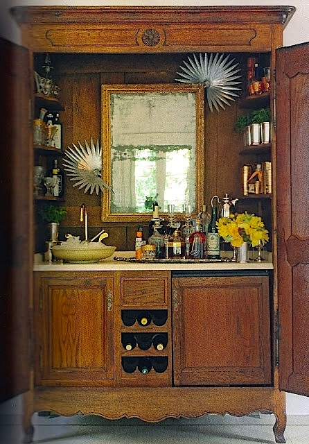 Armoire Turned Into Home Bar for Entertaining