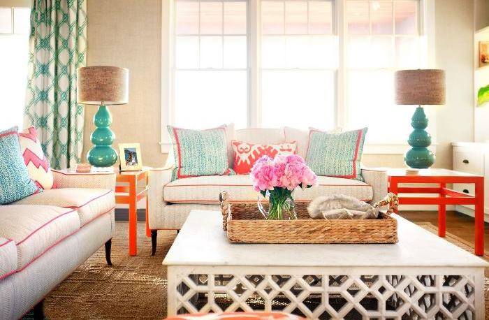 Beach House Living Room in Bright Colors
