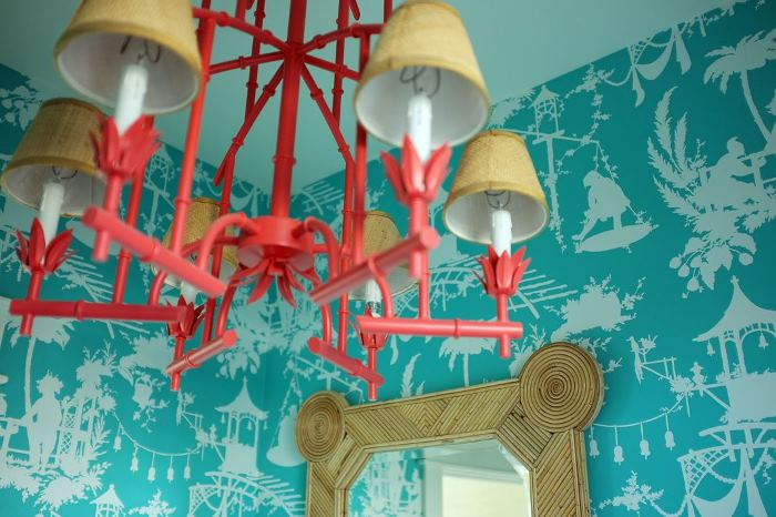 Chandelier Painted Salmon Pink