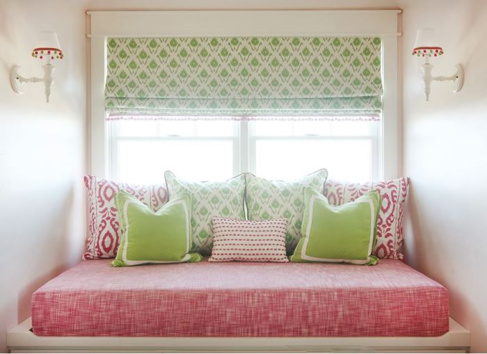 Daybed in Pink and Green for Beach House