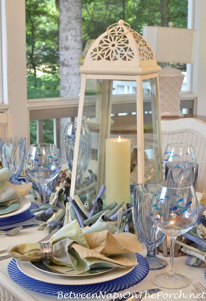 Lighthouse Lantern Centerpiece for Nautical Table Setting