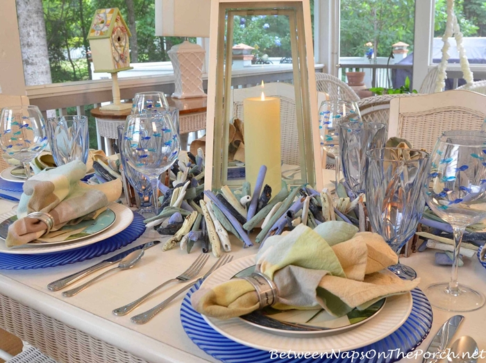Nautical Blue Tablescape with Sailboat Theme