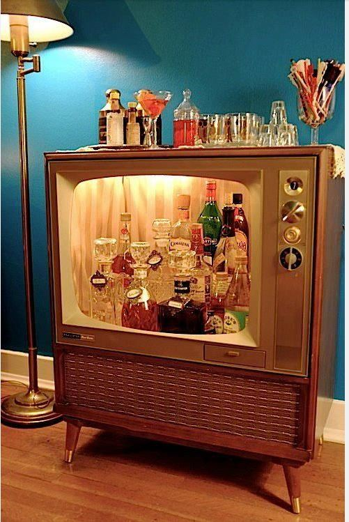 Beau Old TV Cabinet Made Into Home Bar