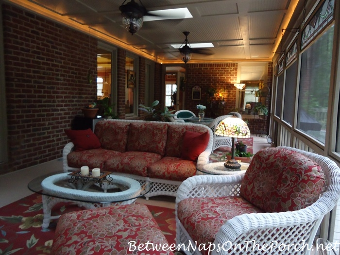 White Wicker and Red Floral Cushions for Screened Porch