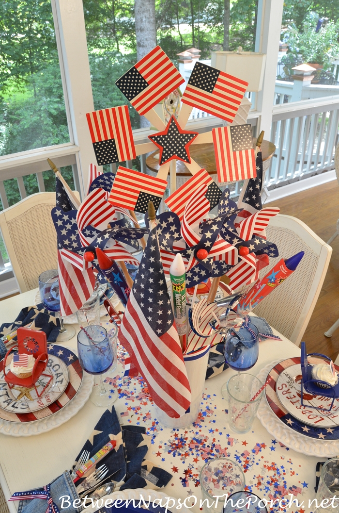 4th of July Centerpiece with Flags, Pinwheels & Fireworks