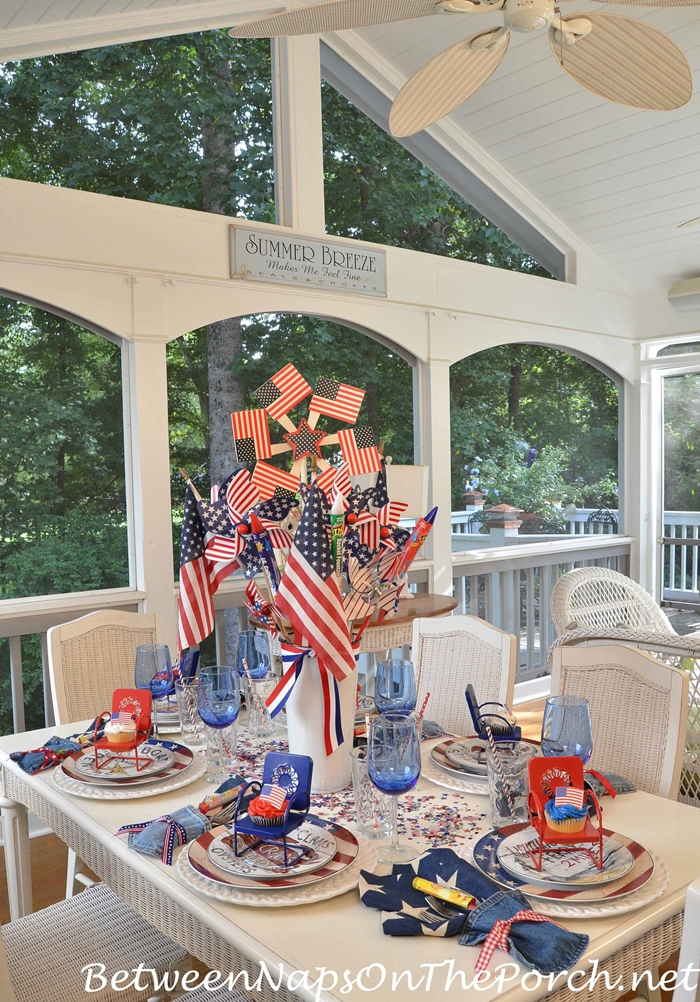 4th Of July Table Setting With Patriotic Flag Dishware