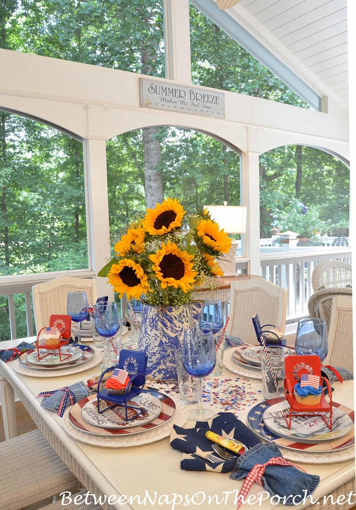 4th of July Table with Sunflower Centerpiece