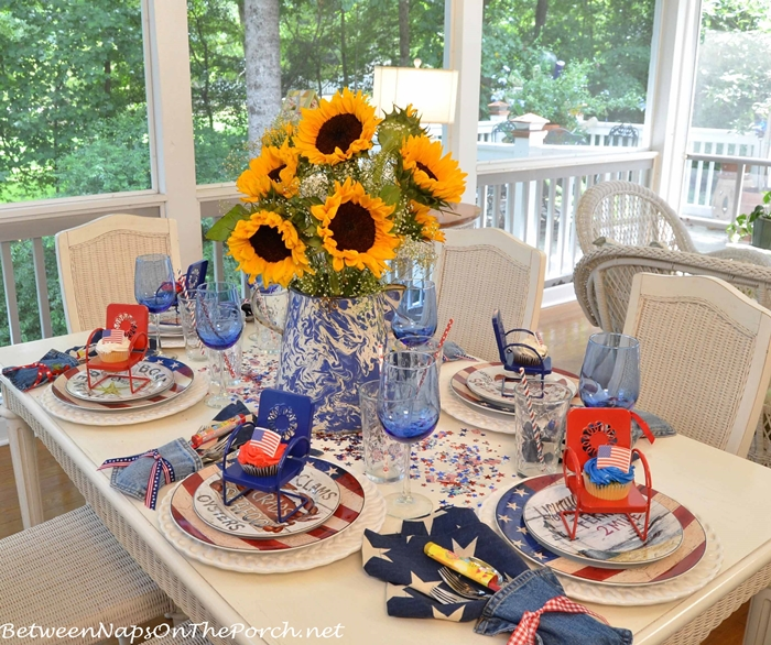 4th of July Table with Warren Kimble Flag Dishware and Sunflower Centerpiece_wm