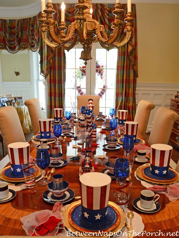 4th Of July Tablescape With Uncle Sam Hats