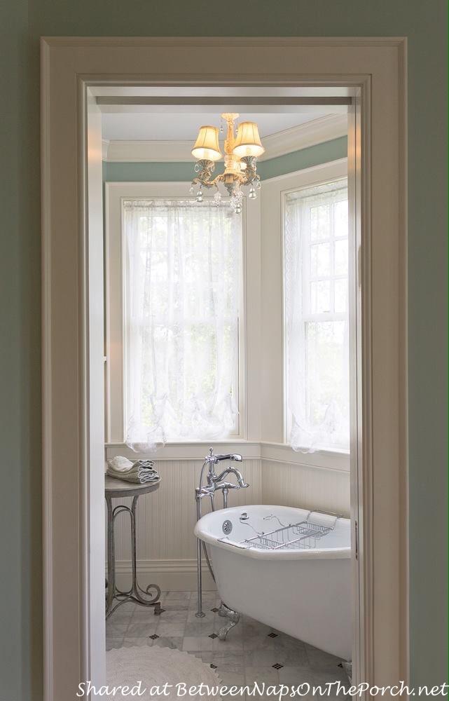 Bath, Wainscotting, Marble Floor, Clawfoot Tub