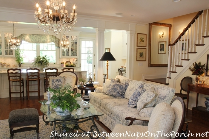 Beautiful Blue & White Living Room in Victorian Home