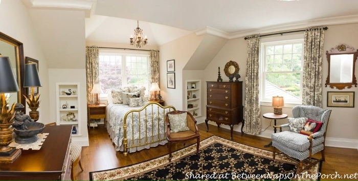 Bedroom with Brass Bed and Toile Bed Linens