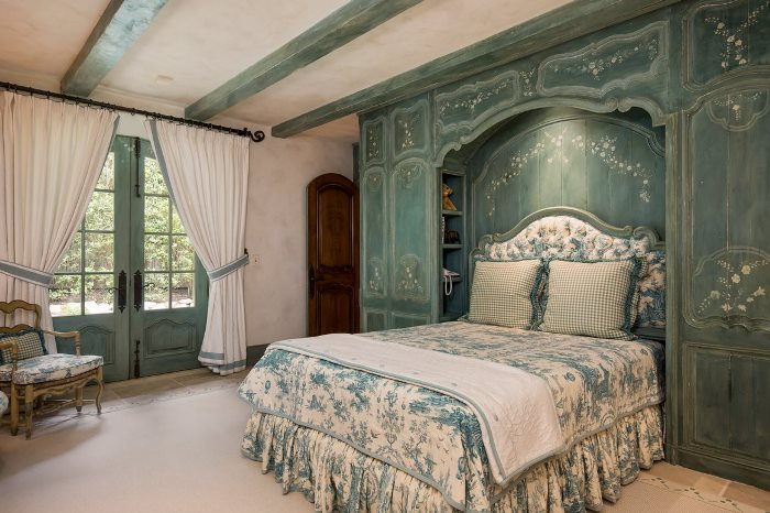 Bedroom with painted cabinetry