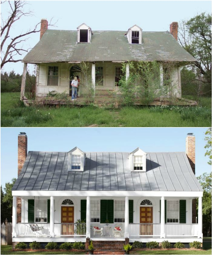 Before and After Photos of Louisiana Farmhouse