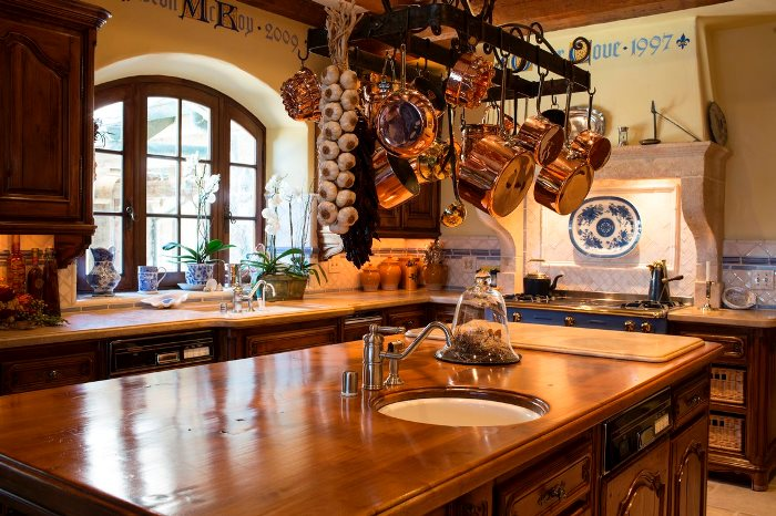 Copper Pots, Iron Pot Rack for French Normandy Style Kitchen