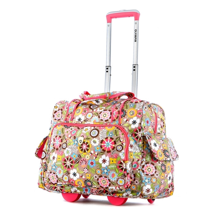 Floral Fashion Rolling Carry On Bag by Olympia for Travel