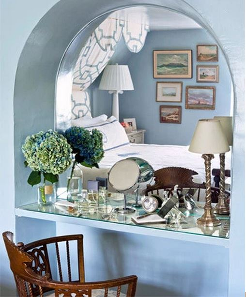 Master Bedroom Niche in Bee Cottage Becomes a Dressing Table