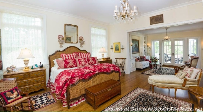 Master Bedroom with French Country Linens in Red Toile and Red Buffalo Check
