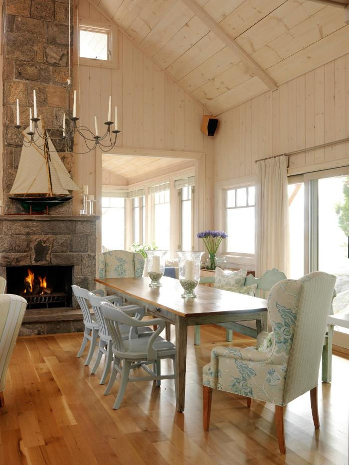 Sarah Richardson's Summer Cottage Dining Area With Fireplace