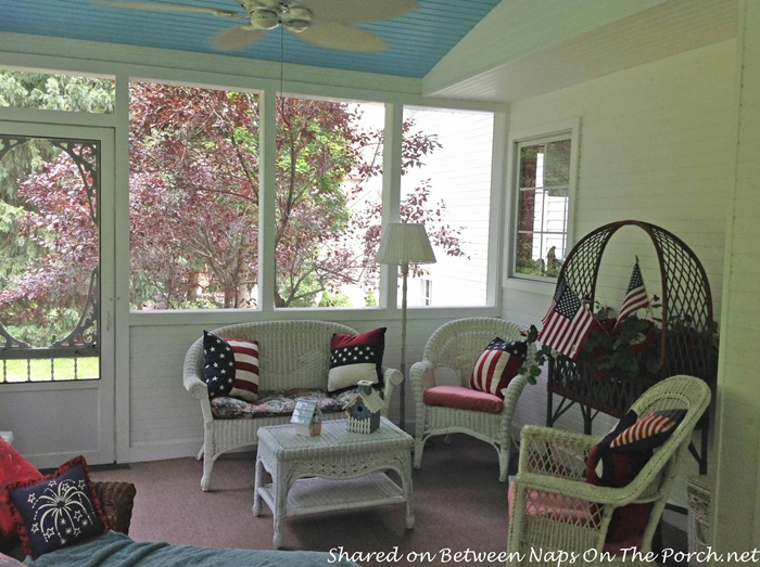 Screened Porch with Haint Blue Ceiling & White Wicker 3
