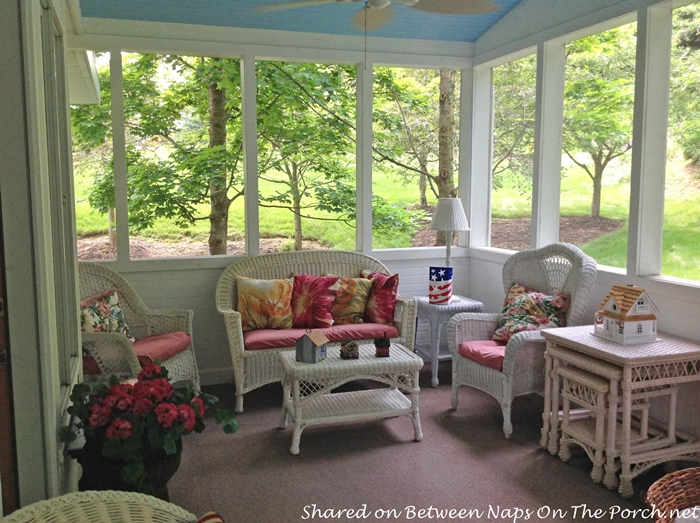 Screened Porch with Haint Blue Ceiling & White Wicker 4
