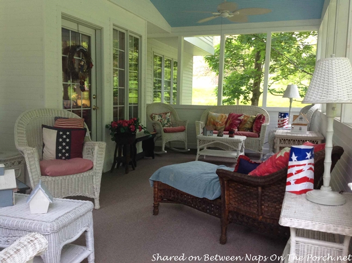 Screened Porch with Haint Blue Ceiling & White Wicker 6