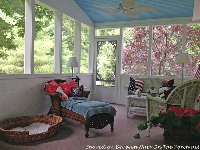 Screened Porch with Haint Blue Ceiling & White Wicker 7