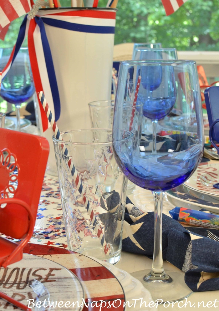 Star Glasses for 4th of July Dinner Party