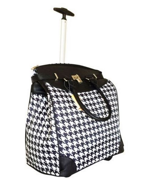 Stylish Houndstooth Rolling Laptop Commuter Bag
