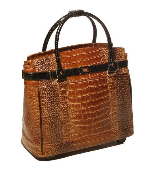 Stylish Rolling Carry On Bag in Faux Crocodile