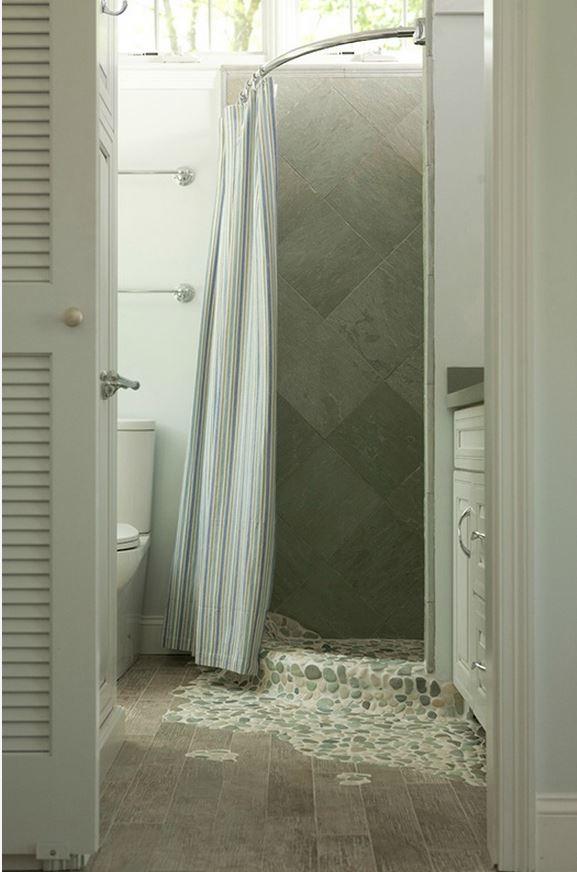 Tiny Small House Bathroom with stone shower floor